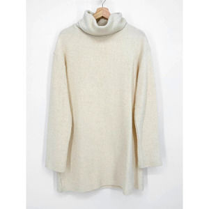 Reformation Small Cream Cowl Neck Long Sleeve Oversized Knit terry Sweater dress